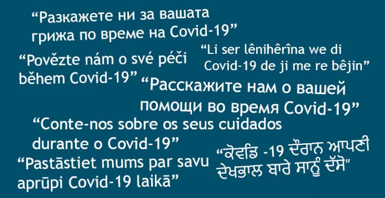 Covid-19 coronavirus survey in different languages