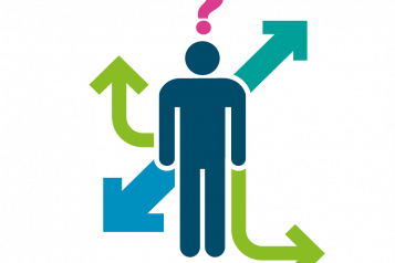 Image shows graphic of a person with arrows depicting signposting
