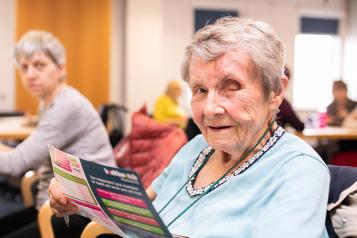 Older woman looking at camera