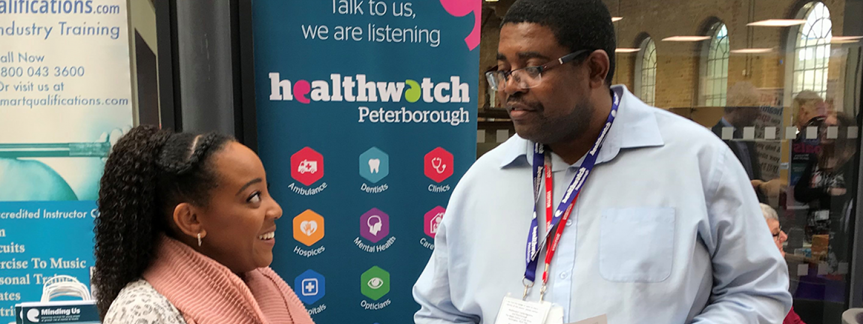 Community Listener volunteer at Healthwatch event